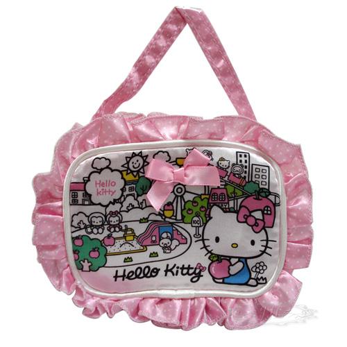 *JJL*HELLO KITTY 花邊零錢包 收納包 手提包 抱蘋果遊樂園系列 可手提 283769