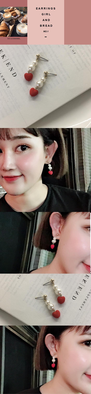 韓國飾品,心型耳環,珍珠耳環,夾式耳環,針式耳環,垂墜耳環