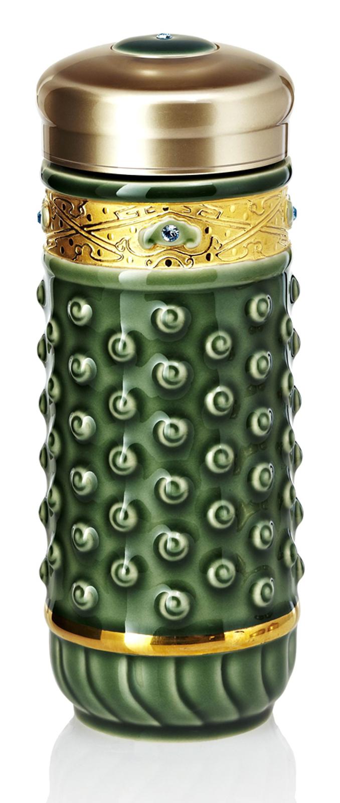 乾唐軒活瓷 ‧吉星乾坤隨身杯( 大 / 雙層 / 鎏金 +綠 / 施華洛世奇元素 )