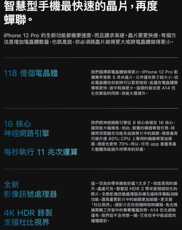 iPhone 12 Pro 的全新功能都需要速度,而且講求高速。晶片要更快速,有個方法是增加電晶體數量,也就是說,你必須將晶片做得更大或將電晶體做得更小。