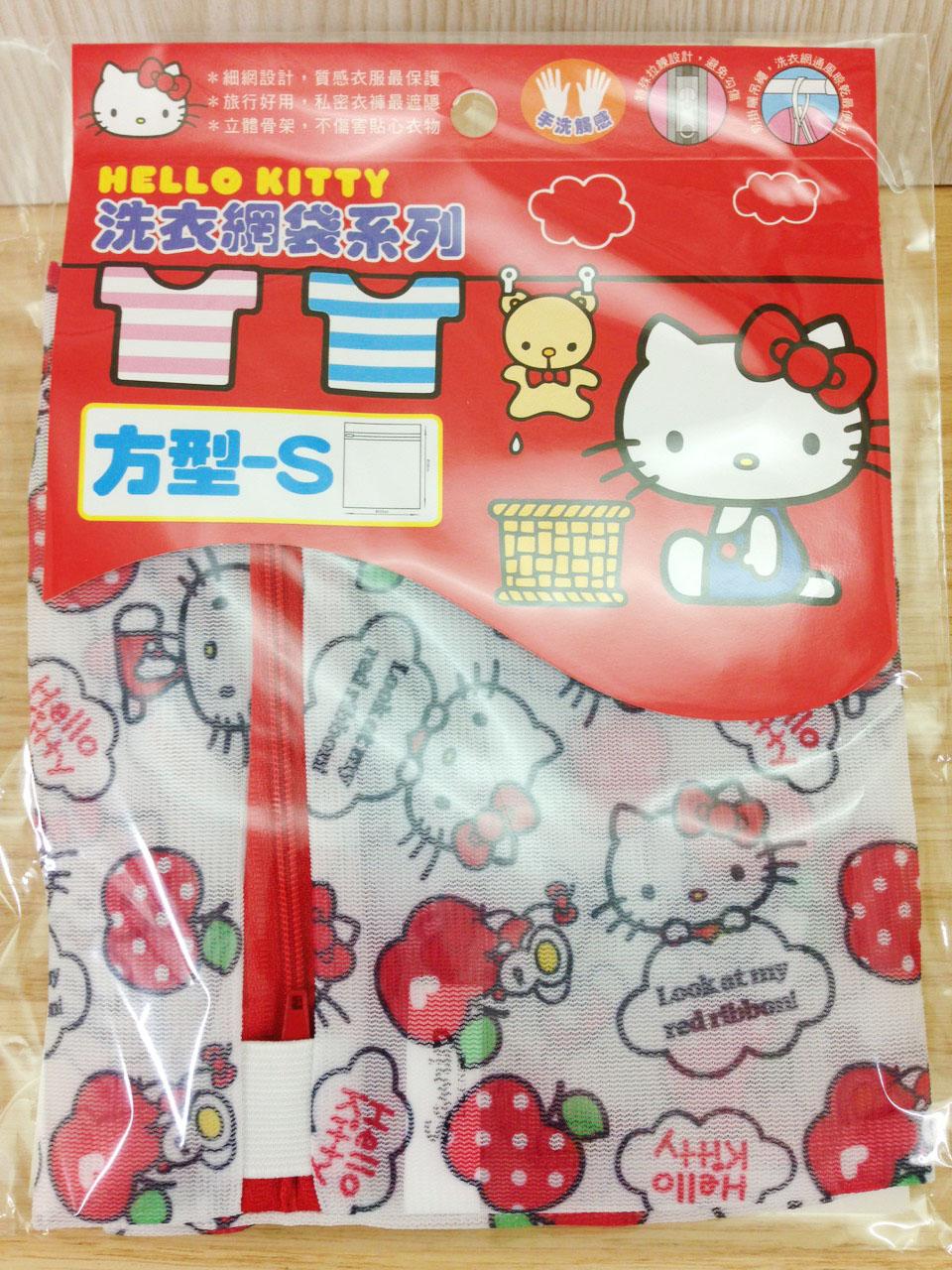 【真愛日本】16011200003洗衣網袋S-方型33*38蘋果  三麗鷗 Hello Kitty 凱蒂貓 洗衣袋 日用品 89元