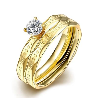 鈦鋼戒指鑲鑽美式戒飾-精美璀璨雙環套戒情人節生日禮物女飾品73le230【獨家進口】【米蘭精品】