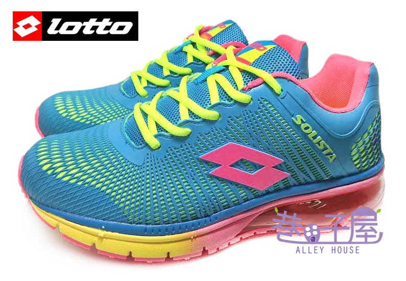 【巷子屋】義大利第一品牌-LOTTO樂得 RUNNING 女款KPU風潮紀念氣墊慢跑鞋 [2166] 藍綠 超值價$690