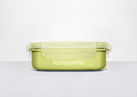 【淘氣寶寶】美國 Kangovou 小袋鼠不鏽鋼安全寶寶餐盒-青蘋綠