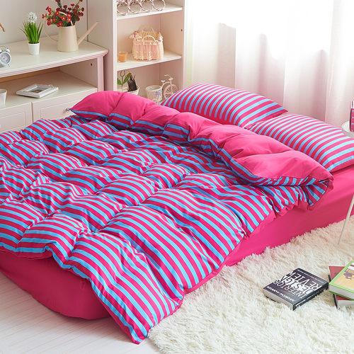 雙色條紋 加大四件式 兩用被床包組-拉菲花園/ 哇哇購