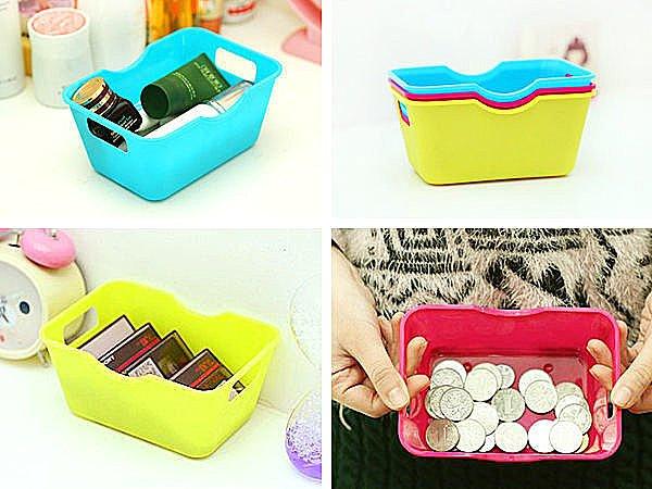 BO雜貨【SV2346】糖果色迷你桌面長方形收納盒 雜物整理盒 文具收納 化妝品收納