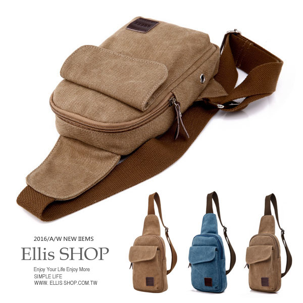 【ELLIS Shop 艾里斯】秋冬新款 韓版休閒帆布斜背包 單肩包 運動包旅行包單車包抓寶包【BA40403】預購