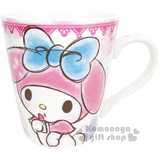 〔小禮堂〕美樂蒂 陶瓷馬克杯《粉.素描風.愛心.口紅》可愛實用
