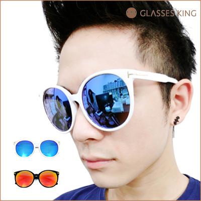 眼鏡王☆潮流經典復古金屬側邊鉚釘設計圓框墨鏡太陽眼鏡海灘夏日水銀反光藍橘S252
