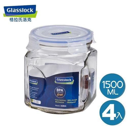 【Glasslock】玻璃保鮮罐1500ml(四入組)(IP591)