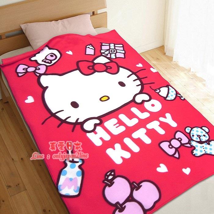 【真愛日本】16092000003刷毛毯100*150-生活小品  三麗鷗 Hello Kitty 凱蒂貓 懶人毯 冷氣毯 正品