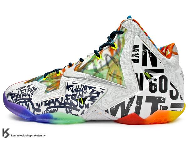 2014 NBA 球季 LeBRON JAMES 最新代言 限量發售 NIKE LEBRON XI 11 PREMIUM WHAT THE 大合體 左右腳不同色 28種歷年設計概念 HYPERPOSI..