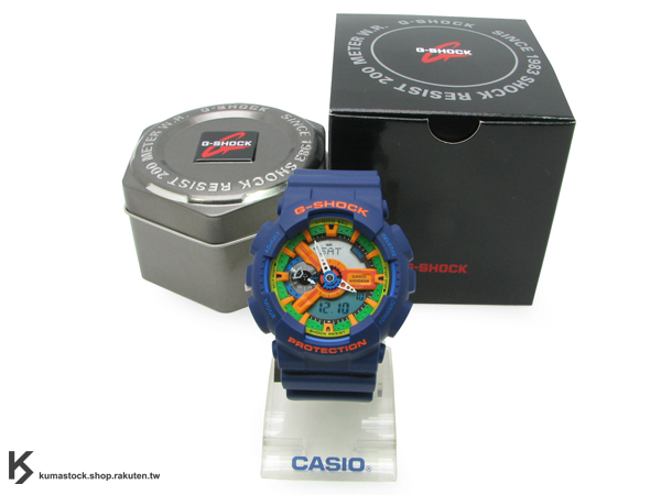 [10%OFF] 超高人氣 2011 秋冬新色 日本限定款 CASIO G-SHOCK GA-110FC-2ADR 深藍橘 橘綠黃錶面 霧面錶帶 藍樂高 !