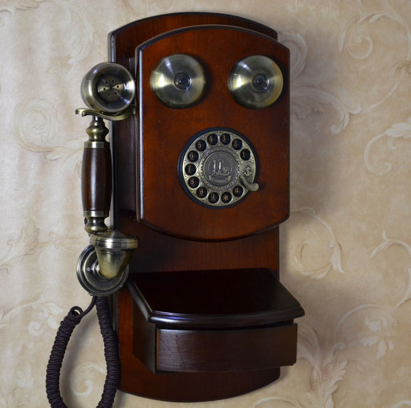 古制工藝-機械鈴聲 旋轉撥盤 仿古復古壁掛式電話機家用實木十天預購+現貨