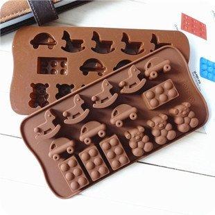 =優生活=食用級矽膠蛋糕模具 小汽車 積木 小熊 小木馬巧克力模具 烘焙模具 果動模具 香皂模具 冰格 製冰盒 製冰格