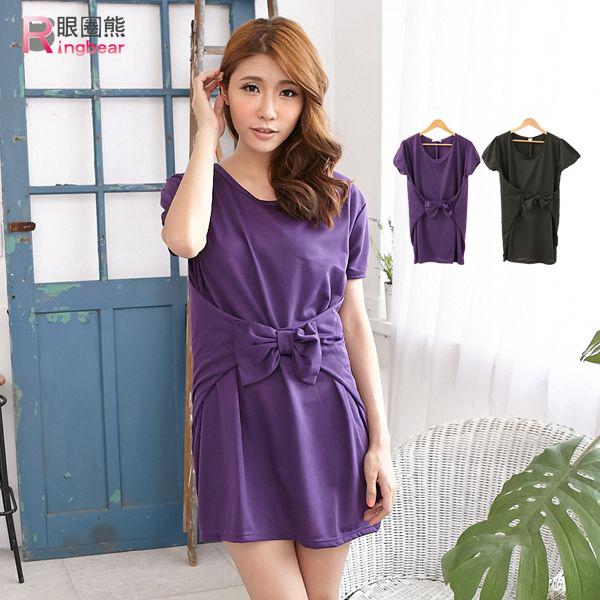 洋裝--典雅大方腰間立體蝴蝶結設計短袖圓領長上衣/洋裝(黑.紫M-2L)-D253眼圈熊中大尺碼