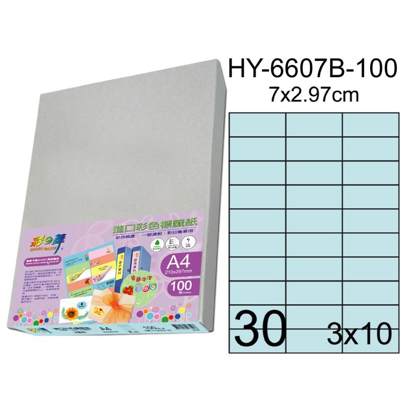 彩之舞 HY-6607B-100、HY-6607G-100、HY-6607H-100、HY-6607P-100、HY-6607Y-100 進口彩色標籤紙 ‧3X10直角(7X2.97cm)-100張入..