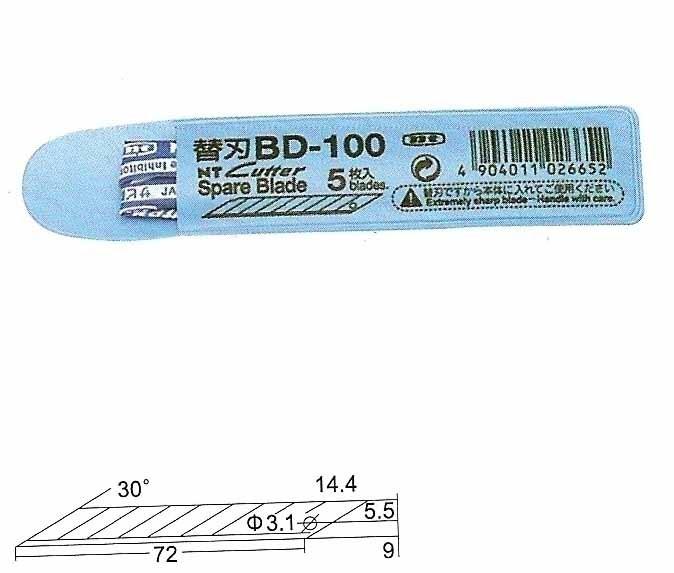 NT BD-100 美工刀替刃 (30度斜角) 5片入 / 包