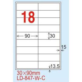 【龍德】LD-847(直角-五色) 雷射、噴墨、影印三用電腦標籤 30x90mm 20大張/包