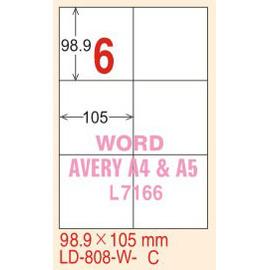 【龍德】LD-808(直角) 亮面防水相片噴墨標籤 98.9x105mm 5大張/包