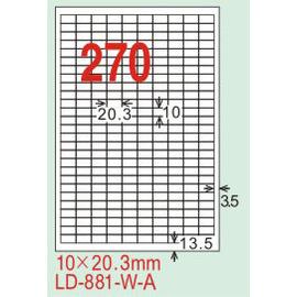 【龍德】LD-881(直角) 雷射、影印專用標籤-白銅板 10x20.3mm 20大張/包