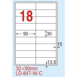 【龍德】LD-847(直角) 雷射、影印專用標籤-雷射透明(可列印) 30x90mm 15大張/包