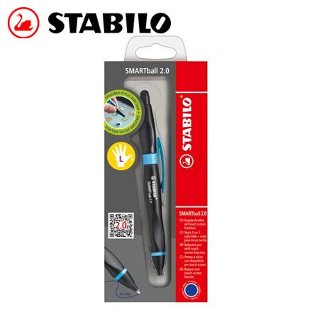 STABILO 德國天鵝 SMARTball 2.0人體工學觸控筆2.0+藍蕊原子筆(左手專用)(1851/2-41黑/淺藍) / 支