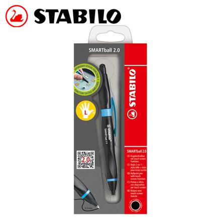 STABILO 德國天鵝 SMARTball 2.0人體工學觸控筆2.0+黑蕊原子筆(左手專用)(1851/2-46黑/淺藍) / 支
