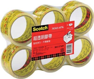 【3M】3036S-6 Scotch 膠帶黏貼系列(規格:48mm*40Y ) 封箱膠帶-超透明封箱膠帶 (6捲入)