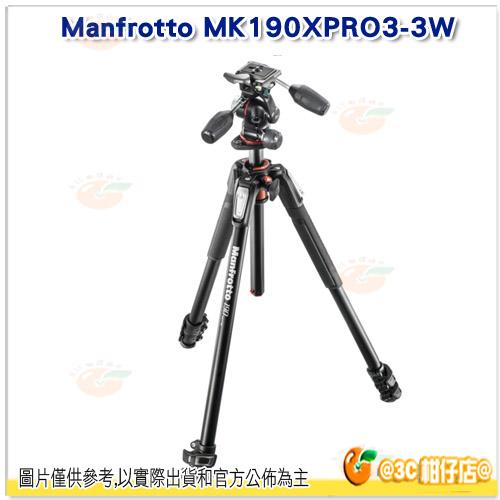 Manfrotto MK190XPRO3-3W 190系列 鋁合金腳架套組 三向雲台 正成公司貨 MHXPRO-3W