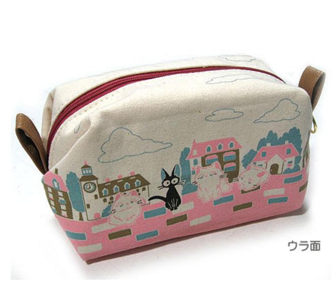 【真愛日本】15121100024 拉臉帆布印花筆袋-黑貓白貓城市 魔女宅急便 黑貓 奇奇貓 筆袋 收納 文具