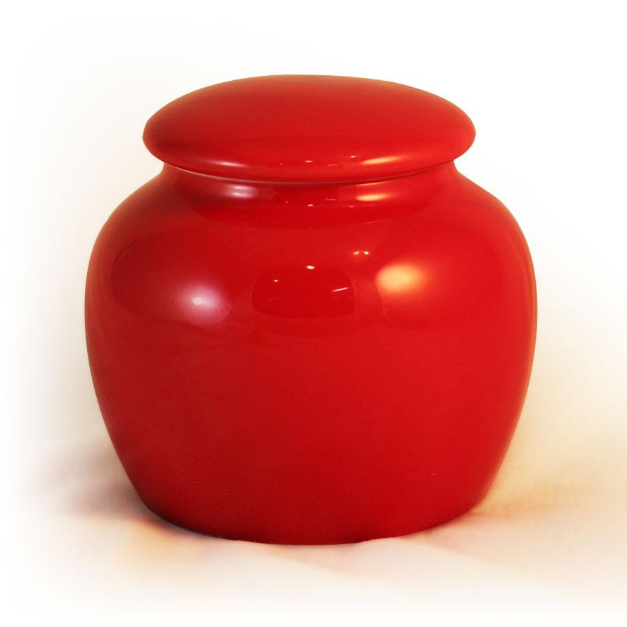 小鼓茶罐-鮮紅