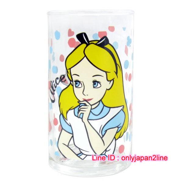 【真愛日本】16112300007日本製玻璃杯250ML-愛麗絲粉藍點  迪士尼 愛麗絲夢遊仙境 馬克杯 杯子 水杯