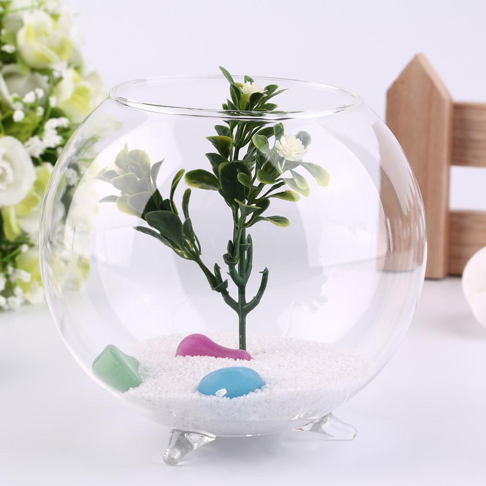 時尚三腳架支持圓形玻璃魚缸 植物花卉景觀花瓶容器 透明水耕花瓶