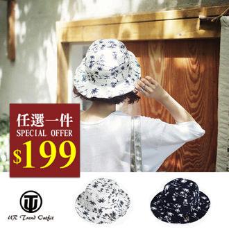 帽子【UTO】韓版椰子樹圖案休閒漁夫帽遮陽帽 (現+預)