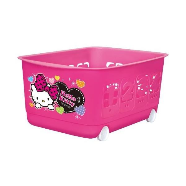 【真愛日本】13011000060 滾輪收納籃-數字桃紅  三麗鷗 Hello Kitty 凱蒂貓 置物籃 雜誌籃 正品