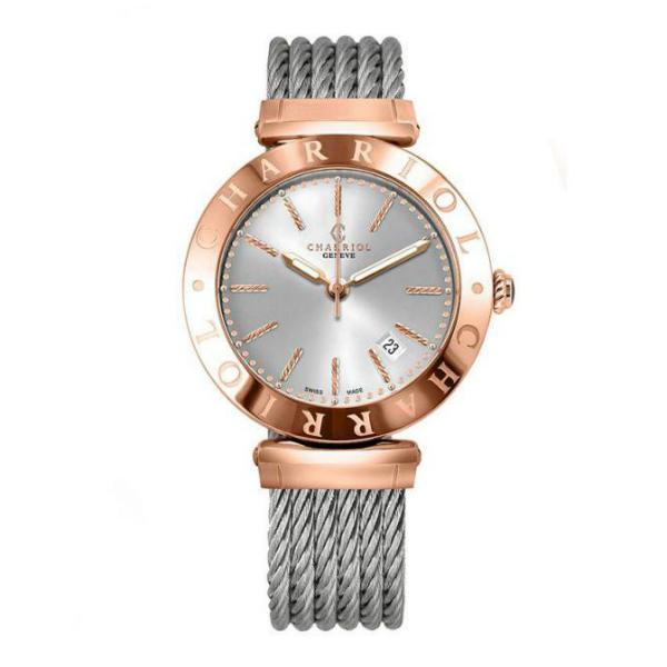 CHARRIOL夏利豪(ALP.51.104)玫瑰金經典鋼索腕錶/白面40mm
