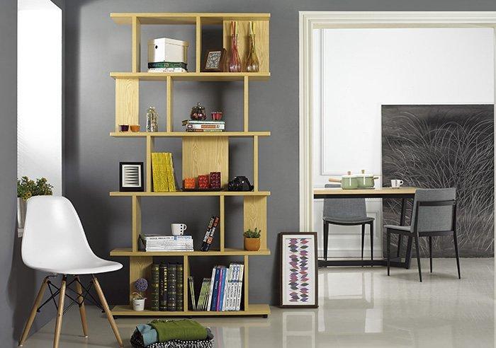 【尚品家具】 JF-325-1 海爾斯3.3X7尺栓木本色造型書櫃