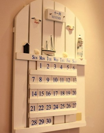 =優生活=韓版zakka雜貨 實木地中海白色萬年曆 掛曆 DIY日曆 可移動月曆 壁掛月曆 居家裝飾