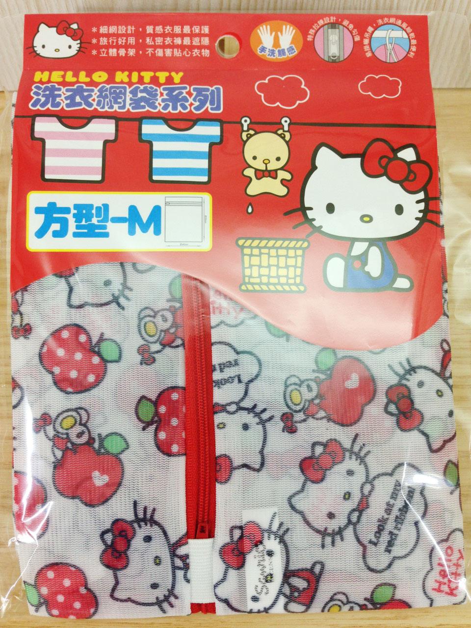 【真愛日本】16011200004洗衣網袋M-方型40*50蘋果  三麗鷗 Hello Kitty 凱蒂貓 洗衣袋 日用品 89元