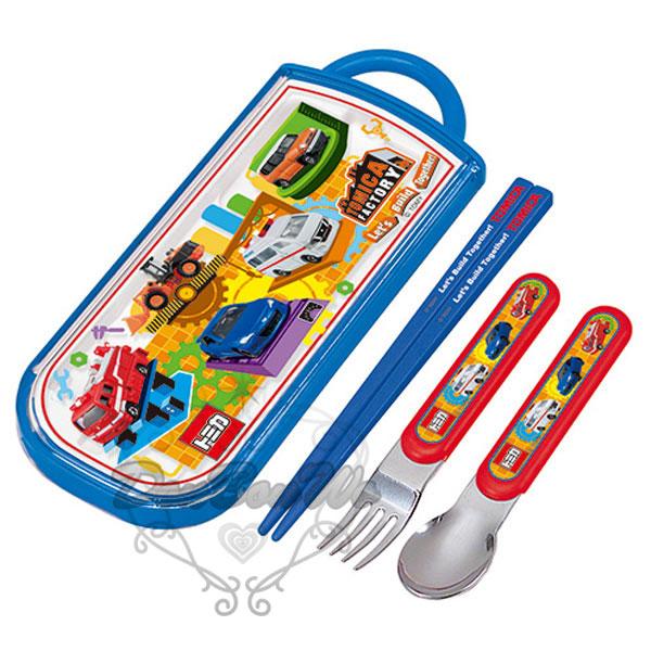 多美TOMY湯匙筷子叉子收納盒兒童餐具組多美工廠藍328992海渡