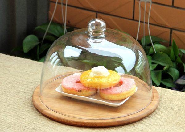 木製玻璃蛋糕罩點心罩蛋糕盤小號代購032937代購海渡
