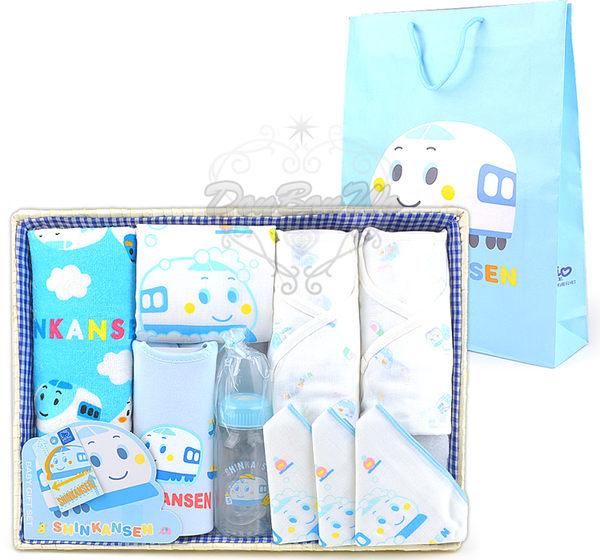 新幹線嬰兒用品竹籃彌月禮盒組毛巾手帕奶瓶圍兜內衣080266海渡
