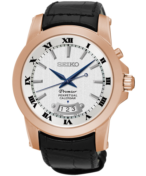 Seiko Premier 6A32-00X0P(SNQ152J1)玫瑰金萬年曆經典羅馬石英腕錶/白面41mm