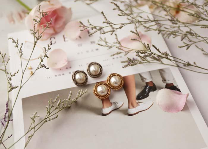 韓國飾品,大珍珠耳環,貼耳耳環,夾式耳環
