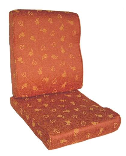 護背式緹花布止滑椅墊(紅底金樹葉)