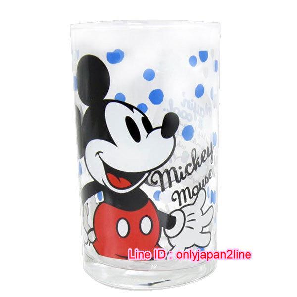 【真愛日本】16112300003日本製玻璃杯250ML-米奇藍白點 迪士尼 米老鼠米奇 米妮  馬克杯 杯子 水杯