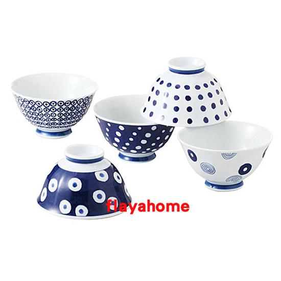 《富樂雅居》日本製 有田燒 波佐見燒 藍丸紋 輕量 五入 飯碗組