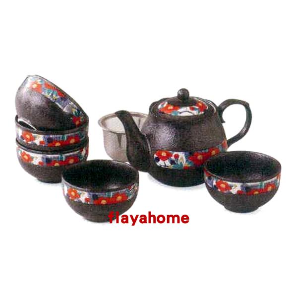 《富樂雅居》日本製 美濃燒 ????椿 ???茶器揃 一壺五杯 茶壺 茶具組