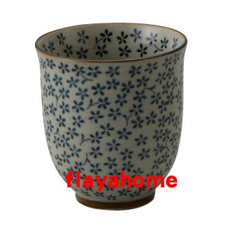 《富樂雅居》日本製 美濃燒 古染藍小花 長湯吞 茶杯